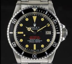 Rolex S/S O/P Rare Mark II Dial Double Red Sea-Dweller B&P 1665  http://www.watchcentre.com/product/rolex-s-s-o-p-rare-mark-ii-dial-double-red-sea-dweller-bp-1665/3612