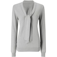 Jacques Vert Tie Neck Jumper ($39) ❤ liked on Polyvore featuring tops, sweaters, light grey, v-neck tops, tie top, lightweight sweaters, v neck sweater and v-neck sweater