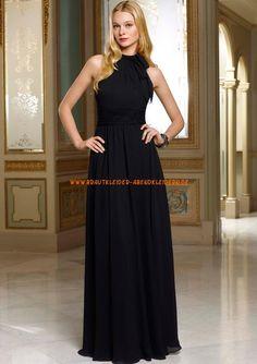 Billige Abendkleider schwarz bodenlang aus Chiffon A-Linie 2013