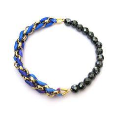 Blue Mix - Hematite Facets Bracelet  kumihimo stretchy bracelet
