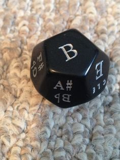 I love this die! The opportunities to use it for technical practice or theory practice abound. 12 sided dice containing all the letters of the musical alphabet. Combine this dice with a roman numeral