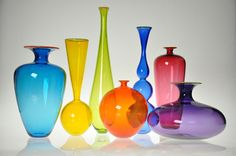 Art glass vases and vessels dance in the light, given form by the careful talent of today's finest American glass artists. Explore an incredible selection of art glass vases and vessels, each the result of an artist's unique vision. Glass Wall Art, Stained Glass Art, Glass Door, Glass Art Pictures, Jewel Tone Colors, Glass Vessel, Vases Decor, Colored Glass, Decoration