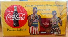 Original Rare Harlem Globetrotters Coca Cola cardboard sign Coca Cola Poster, Harlem Globetrotters, Coke, Vintage Antiques, Advertising, Signs, Coca Cola, Shop Signs, Cola