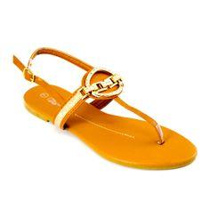 Medallion Embellished T-Strap Slingback Sandals Camel   Danice Stores