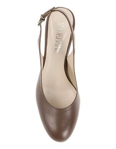 Schlichte Slingpumps aus echtem Leder mit hohem, breiteren Absatz   MADELEINE Mode