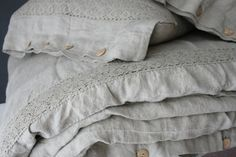 French Linen duvet cover and two pillowcases with wooden buttons and french lace linen bedding ,stonewashed made by mooshop Grey Duvet, Linen Duvet, Luxury Duvet Covers, Luxury Bedding, Vintage Bedding Set, Window Bed, Bed Linen Sets, Linens And Lace, Bed Styling