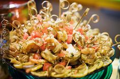 Lemon & Oregano Marinated Shrimp with Feta, Tomatoes, and Parsley.    #Catering #Caterer #EventPlanning #Appetizers