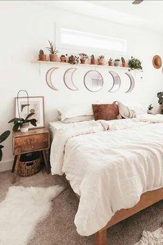Boho Living Room, Boho Teen Bedroom, Nordic Bedroom, Bohemian Bedroom Decor, Scandinavian Bedroom Decor, White Wall Bedroom, Light Bedroom, Summer Bedroom, White Rustic Bedroom