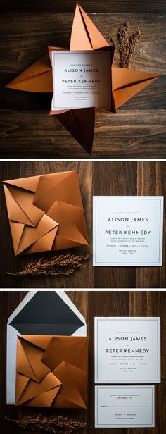 Unique Origami Wedding Invitation by Penn & Paperie, shown in shimmer copper and black color palette. #weddinginvitation