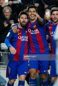 The FC Barcelona player Luis Suarez from Uruguay celebrating his goal with The FC Barcelona player Lionel Messi from Argentina during the Spanish Copa del Rey (King's Cup) round of 8 second leg match between FC Barcelona vs Athletic Club de Bilbao at Camp Nou stadium on January 11, 2017 in Barcelona, Spain.