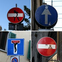 A selection of some pretty weird and strange traffic signs / street signs seen in Florence / Firenze, Italy Photography Tours, Street Photography, World Map App, Italy Vacation, Western Art, Funny Signs, Chicago Cubs Logo, Storytelling, Whimsical