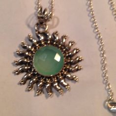 % 925 Silver 7.12 carat chalcedony blue pendant Gorgeous, faceted, 7.12 carats of Sea foam green % Chalcedony stone, inlaid into % 925 sterling silver rays of sunshine setting 1.5 inches, hand made, high quality  NWOT Stunning  price ⤵️ hand made Jewelry Necklaces