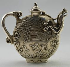 Chinese Collectible Decorated Old Handwork Tibet Silver Carved Phoenix Tea Pot | eBay