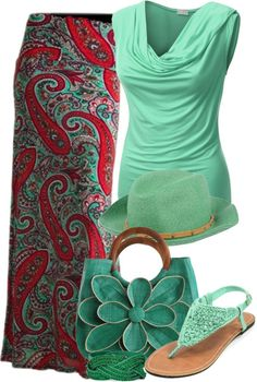 mint green and printed maxi skirt outfit. The purse is hideous, but the outfit is cute Passion For Fashion, Love Fashion, Fashion Models, Womens Fashion, Modest Fashion, Teen Fashion, Casual Winter Outfits, Spring Outfits, Spring Clothes