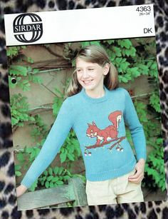 Items similar to Original Girl SQUIRREL Motif Jumper Knitting Pattern children boy ladies Sirdar 4363 vintage animal woodland novelty nature wildlife cartoon on Etsy Sirdar Knitting Patterns, Jumper Knitting Pattern, Free Knitting, Crochet Patterns, Sewing Patterns, Squirrel Pictures, Ugly Sweater, Sweaters, Jumper Outfit