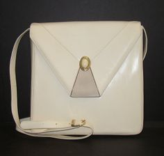 Vintage Bally Handbag Purse Cream White Leather by andiehaynes, $177.00