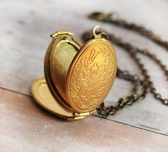 Bridal Bouquet Gold Locket Jewelry Necklace Antique by LimonBijoux