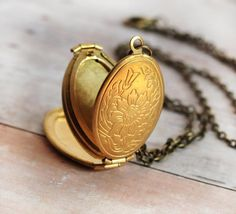 Gold Locket Necklace Jewelry Children Mothers Gift by LimonBijoux