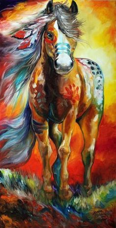 HIGH PLAINS INDIAN WAR HORSE - by Marcia Baldwin from Paintings Oils Acrylics Art Gallery- would get a tattoo like this for my mother, she's always loved horses, such a beautiful animal Native American Horses, Native American Decor, Native American Paintings, Indian Horses, Art Watercolor, Watercolor Projects, Motifs Animal, Painted Pony, Horse Drawings