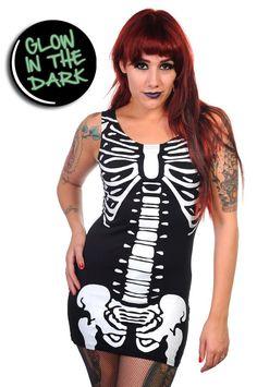 Banned Clothing - Glow In The Dark Skeleton Long Tank Top