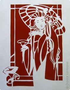 Картина панно рисунок Вырезание Под зонтиком_Bernie Levine Бумага фото 2