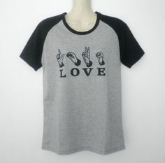 LOVE Text  Hand Sign  Two Tone Jersey  Short by simladytshirt, $15.99
