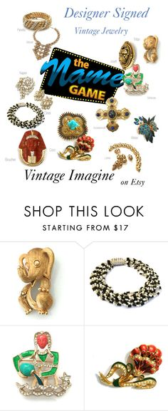 """Designer Signed Vintage Jewelry"" by vintageimagine ❤ liked on Polyvore featuring Trifari, Ciner, CORO, vintage, women's clothing, women, female, woman, misses and juniors"