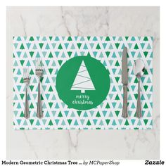 Modern Geometric Christmas Tree Holiday Green Aqua Paper Placemat