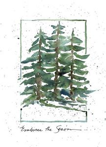 Three Trees. Watercolor Christmas card.