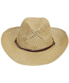 Men   Women s Woven Straw Cowboy Hat w Hat Band Décor Pu Band beige  CS180O4M7ER edc7e1ef1d5a