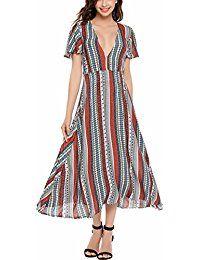 cb54706e221b5 Women s Summer Short Sleeve Vintage Print High Split V Neck Tunic Maxi Dress  -- Want