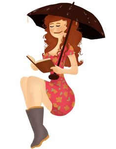 Reading in the rain Sketch Drawing, Rain, Disney Princess, Disney Characters, Drawings, Book, Illustration, Design, Sketches
