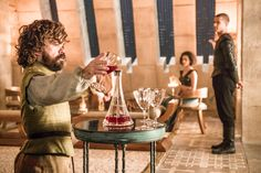 Peter Dinklage as Tyrion Lannister, Nathalie Emmanuel as Missandei and Jacob Anderson as Grey Worm – photo Helen Sloan/HBO