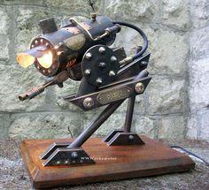 Steampunk Walker Desk Lamps : steampunk, robot, walker, lamp