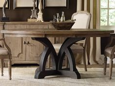 Hooker Furniture Corsica Round Dining Table in Two Tone Finish. Corsica Round Dining Table from Hooker Furniture. Constructed from Acacia solids and veneers, it comes with two leaves Hooker Furniture, Dining Room Furniture, Furniture Ideas, Furniture Hardware, Large Furniture, Furniture Makeover, Furniture Design, Casual Dining Rooms, Solid Wood Dining Table