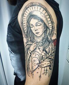 Tattoo de João pronta !!!! Valeu mano, chegou com uma ideia bem diferente mas deixou que eu fizesse no meu estilo !!! Mto obrigado!!! Contato para orcamento e agendamento no tel 27 999805879 com @bruno_a_luppi !!! #kadutattoo #tattoos #tattooed #tatuagem #tatuagens #ink #inked #santa #mariamaedejesus #santamaria #faith #fé #blackworktattoos #blackwork #blackink #blxckink #tattoo2me #inspirationtatto
