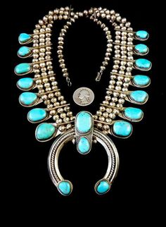 247g Vintage Navajo Sterling Silver Triple-Row Squash Blossom Necklace w INTENSE Blue Gem Turquoise
