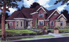 A brick-and-stone exterior with brick quoins and limestone keys decorate the facade of this graceful luxury home.  House Plan # 161080.