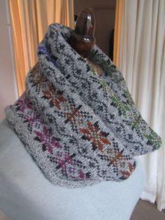 Fair Isle Knitted Wool Cowl Scarf. $56.00, via Etsy.