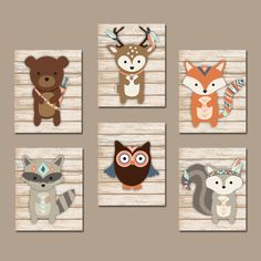 TRIBAL Nursery Wall Art Canvas or Prints Whimsical Woodland
