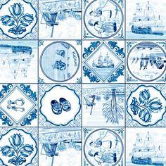 Tafelzeil Delftsblauw - Delftsblauw tafelzeil met prachtige echt hollandse afbeeldingen van bijv. klompen en tulpen. Dit tafelzeil fraait jouw tafel helemaal op! Het tafelzeil is makkelijk afneembaar, dus ook ideaal geschikt voor mensen met kinderen. Het tafelzeil valt soepel om uw tafel en is 140cm breed.