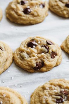 The Easiest Chocolate Chip Cookies - Katiebird Bakes - Trend Noodle Side Dish Recipes 2019 Cookie Recipe Without Mixer, Chip Cookie Recipe, Easy Cookie Recipes, Dessert Recipes, Baking Desserts, Pie Recipes, Baking Recipes, Cookies Without Brown Sugar, Desert Recipes