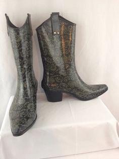 Capelli Western Cowgirl Rain Boots Sz 8  Black Gray Damask Print #Capelli #Rainboots #Casual