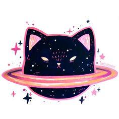 Gatos (cat planet in stars) Space Cat, Art And Illustration, Deco Gamer, Art Mignon, Cat Stickers, Crazy Cats, Cat Art, Art Inspo, Cute Animals
