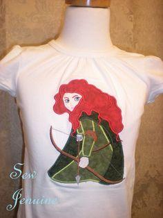 Custom Boutique Disney Brave Princess Merida Girl's T shirt 2, 3, 4, 5, 6/7. $22.00, via Etsy.