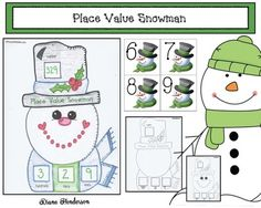 Place value activities: Place value snowman game, whole group assessment, and math center activity. Snowman Games, Snowman 6, Snowman Crafts, Place Value Games, Place Value Activities, 3d Shapes Activities, Fun Activities, Activity Centers, Math Centers