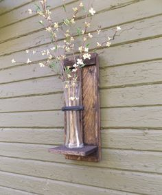 Rustic Wall Sconce. Wood Wall Sconce. Wall Vase Sconce. Vase Sconce. Flower  Vase. Farmhouse Decor. Shabby Chic. Wood Sconces.