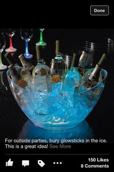 For outside parties, bury glow sticks in the ice.