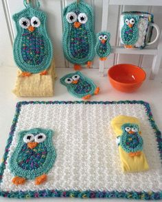 Picture of Owl Kitchen Set Crochet Pattern