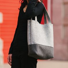 Colorblock Wool Felt Tote in Ash and Charcoal Gray